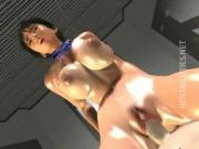 Slutty 3D anime lesbians share cock