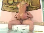 Blonde gets anal fuck in Jacuzzi