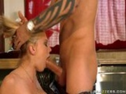 Stupid blonde gets her punishment