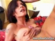 Cumshot between Luisa's Tits