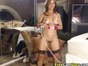 She rubs her vibtator on her clit till she or