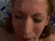Young slut's face gets spunked