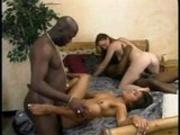 Two interracial couples having fun