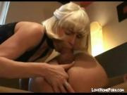Blonde slut fingers guys ass blows his dick