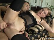 Lingerie wearing seductress gets rough ass fu