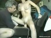 Classic cutie masturbating and sucking