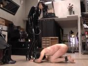 Mistress whips slave harshly