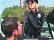 Kinky cop in latex forces arrested guy to fucking