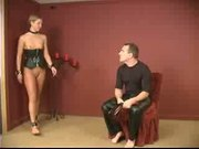 Tied slave gets ass spanked, small tits pegged and pussy worked on latex bdsm