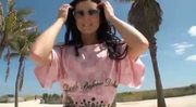 Sexy brunette Candace Cage poses in pink bikini then gets fucked in the hotel