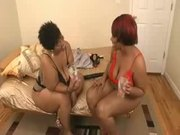 Two Stout And Ebony Prostitutes Behave Themselves As Lesbians
