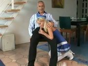 Blonde Teen Chick In Blue Dress Sucks And Rides Dick Of Older Man Very Willingly