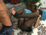 Master Footjob Done By Shy Love Ripped Pantyhose