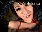 Hot & oiled hairy Riko Nishikawa rides on dildo