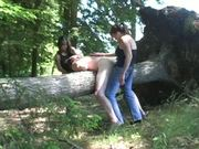Lezzies Doubledick A Guy By Strapon Dildos In Wood