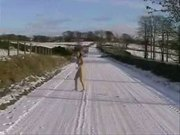 Crazy Chick Runs Totally Naked Along Winter Highway
