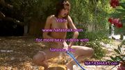 Skinny Natasha naked outdoor in garden at 5ilthy