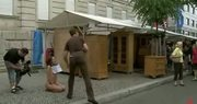 Blonde russian bitch gets humiliated in public places including a museum and gets fucked at 5ilthy