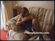 Busty British MILF in stockings masturbates at home at 5ilthy