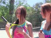 Horny babes loves messing around with the tennis instructor