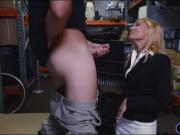 Blonde milf sucks off and gets banged by nasty pawn keeper