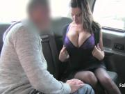 Natural busty in black stocks titfucked in taxi