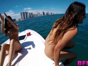 Jmac gives the naughty chicks his big dick on their boat