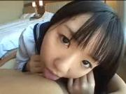 Innocent Japanese Schoolgirl BJs Erect Cock