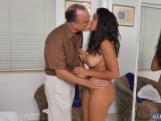 Big tits ebony babe Jenna bangs an aged cock