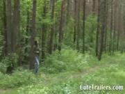 Beautiful Teen Swallows Rod In Forest