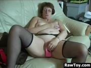 Granny Masturbates With Adult Toys