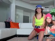 Busty gamer teens getting fucked