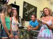 Amateur Girls Flashing Tits During Public Cash Stunt