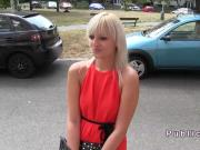 Slim blonde in red dress fucks in public