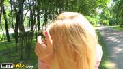 Alluring Blonde Girl Jams Thick Cock In Mouth Vagina Outdoors