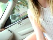 Hitchhiker Alex Blake banged in the backseat by stranger