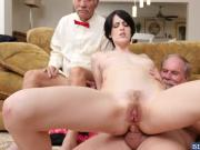 Brunette chick Alex Harper bangs with the oldies