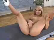 Exceptional peach is presenting her spread yummy twat in closeup
