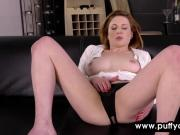 Redhead woman masturbates in the afternoon