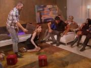 Group of couples swap partners and orgy in the red room