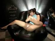 Virgin toys with a huge dildo, she blows great