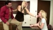 Aroused Mom and Daughter Plays Stiff School Director\'s Rod