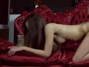 Lovesome chick spreads wet slit and loses virginity