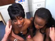 2 Naughty Ebony Whores Service And Ride A Stiff Cock
