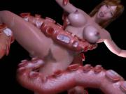 3D Girl Destroyed by Tentacles!