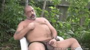 Fat Dad Jerks Off Penis At The Backyard