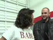 Cute brunette flashing bald cunt for cash