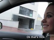 Petite Euro teen sucks and fucks in car