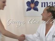 Masseurs fucks blonde in threesome