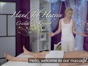 Blonde masseuse rides big cock